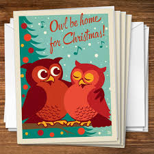 design happy holidays owl be home for
