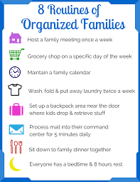 family organization 8 routines of organized families ellen u0027s blog professional