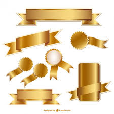 gold ribbons golden ribbons and badges collection vector free