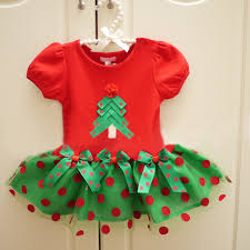 2016 christmas tree girls dress princess party costumes red dots