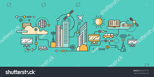smart tecnology smart technology infrastructure city icon network stock vector
