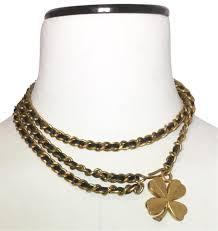 clover leaf necklace images Chanel black and gold leather woven chain four leaf clover belt jpg