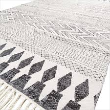Flat Weave Cotton Area Rugs White Black Cotton Block Print Area Accent Dhurrie Woven Rug Flat