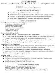 Template For Customer Service Resume Stunning Idea Customer Service Skills Resume Sle Objective For