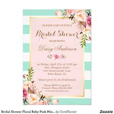 bridal shower floral baby pink mint green stripes wedding