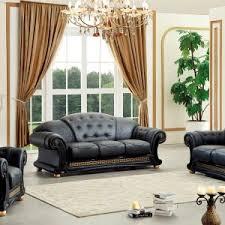 Versace Living Room Furniture Versace Black Italian Top Grain Leather Luurious Living Room Sofa