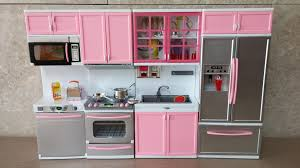 unboxing new barbie kitchen set deluxe modern toy kitchen
