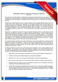 Can An Employer Terminate An Employee Without Notice by Free Printable Resignation Letter By Employee Employer Acceptance