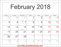 Which Date Is February 2018 Calendar Site Provides Calendar Template Of February
