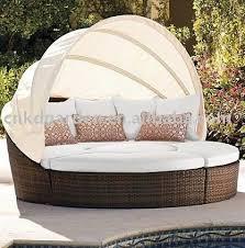 Round Outdoor Sofa Outdoor Sofá De Vime Conjunto Sofá Redondo Com Dossel Decoração