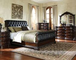 black sleigh bed suite leather like fabric churchill bedroom