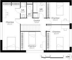plan de maison en l avec 4 chambres plan maison avec etage