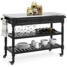 kitchen island stainless top best choice products wood mobile kitchen