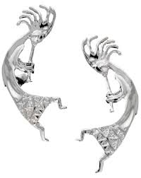 cuff earings large kokopelli non pierced sterling silver ear cuff earrings