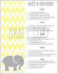 baby shower game whats in your phone baby elephant baby