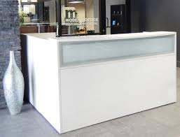 Modern Office Reception Desk L Shaped White Reception Desk W Frosted Glass Panel