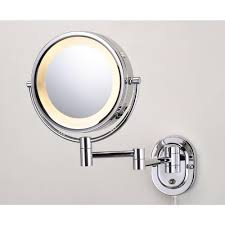 home depot lighted mirrors jerdon 15 in l x10 in w lighted wall mirror in chrome hl65c the