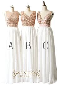 sequin top bridesmaid dresses gold sequins top and chiffon bridesmaid dress formal