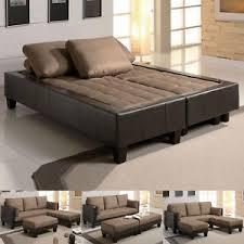 fulton tan microfiber convertible sofa bed couch sleeper 2 ottoman