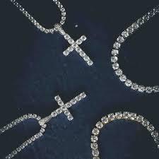 3mm diamond white gold diamond cross 3mm cut tennis necklace 18 set