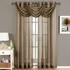 2 abri mocha brown grommet crushed sheer curtain panels size 50