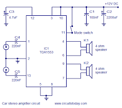 car stereo amplifier circuit diagram and schematics using tda1553 ic