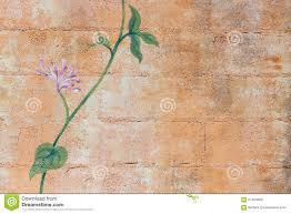 Painting On Concrete Wall by Painting Of A Green Plant On A Concrete Blocks Wall Stock Photo