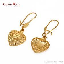 saudi arabia gold earrings westernrain 2017 gold 24k heart pendant necklace wedding jewelry