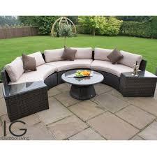 maze rattan half moon curved garden sofa set revistapacheco com