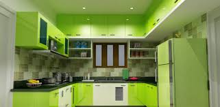modern u shaped lime green high gloss finish kitchen cabinets with