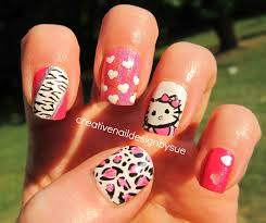 creative nail design by sue hello kitty special request