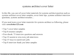 Solution Architect Resume Sample by Systems Architect Cover Letter