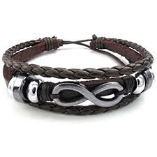 leather bracelet with silver charms images Konov mens womens leather bracelet love infinity jpg