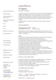 Computer Technician Job Description Resume by Inspiring Technical Support Resume Example With It Support Resume