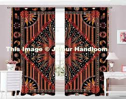 Door Panel Curtains Burning Sun Moon Door Drapes Indian Tapestry Window 2 Panel Curtains