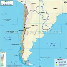 chile physical map map of chile