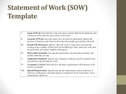 Scope Of Work Template Excel Statement Of Work Template Statement Of Work Template For A