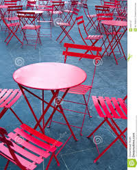 Cafe Style Dining Chairs Bright Red Cafe Tables And Chairs Stock Image Image 8187137