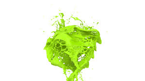 light green color splashes in slow motion into screen alpha