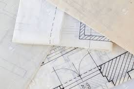 architectural plans architectural plans of the old paper tracing paper stock photo