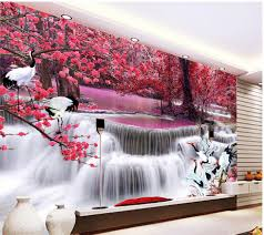 custom wall mural promotion shop for promotional custom wall mural 3d room wallpaper waterfall crane tv backdrop custom 3d photo wallpaper home decoration custom wall mural