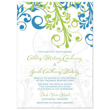 green wedding invitations wedding invitation cerulean blue lime green modern floral