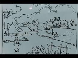 28 easy house drawing simple drawing of house village nature scenery drawing easy tutorial for kids youtube