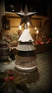 repurposed funnel colander tree flea market style