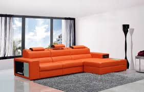 mini contemporary orange bonded leather sectional sofa