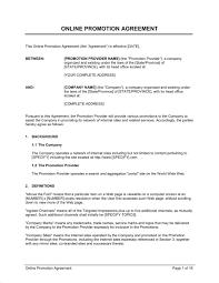 online promotion agreement template u0026 sample form biztree com