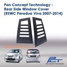 nissan almera ultra racing bar perodua viva black rear side window triangle mirror cover protector