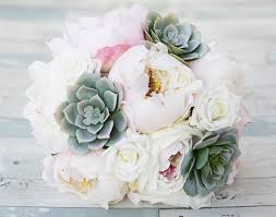succulent bouquet specialty blush pink peonies and dusty green succulent silk