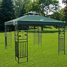 12x12 Patio Gazebo Large Green 12x12 Foot Square Polyester Garden Canopy