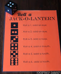 halloween party ideas kindergarten roll a jack o lantern game first one to get a whole face wins
